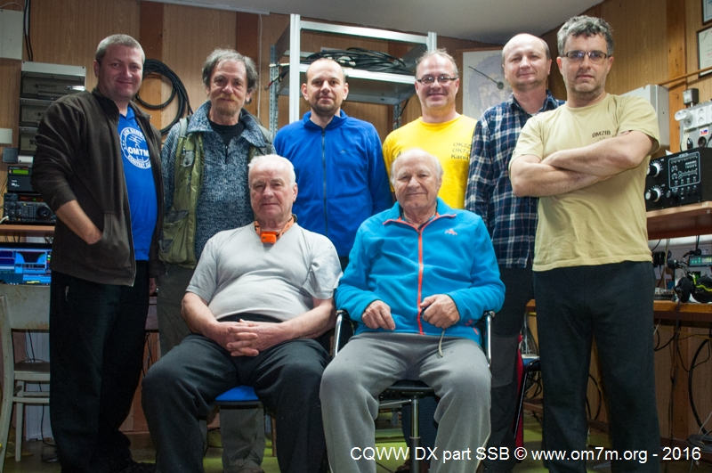Team OM7M: up from left: OM4MM, OK2PAY, OM5ZW, OK2ZI, OM5RW, OM2IB, dwn from left: OK2BFN, OM3PA